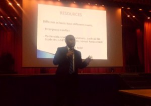 Deputy Director Randy Duque presents before 300 principals at the School District of Philadelphia's annual get-set prep.