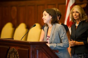 PCHR Executive Director Rue Landau speaks about the benefits and consequences of the new breastfeeding accommodation law. Photo courtesy Kait Privitera.