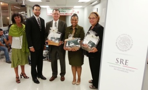 (l-r) Marla L. Soffer of the Galfand and Berger Law Offices, Jorge Armando Tuddon Meza of the Mexican Consulate in Philadelphia, Davis H. Schraeger of the New Jersey Department of Labor and Workforce Development and PCHR's Nancy Rivera and Veronica Szymanski.