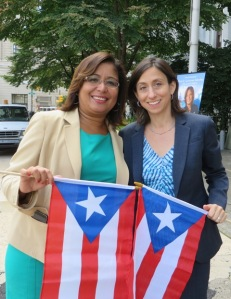 City Councilwoman Maria Quiñones-Sánchez and PCHR Executive Director Rue Landau proudly celebrate Hispanic Heritage Month in Philadelphia.