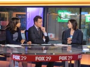 FOX29's Alex Holley and Mike Jerrick listen to PCHR Executive Director Rue Landau outline that despite Ebola concerns, national original discrimination violates the Fair Practices Ordinance.
