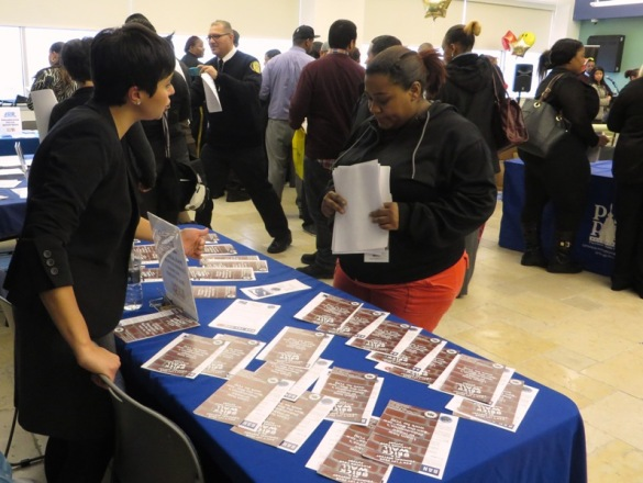 "PCHR's Monica Gonzalez explains how the city's 'Ban the Box"" law can help level the playing field for job seekers during the first job fair sponsored by La Mega 1310AM."