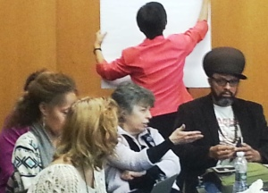 PCHR Commissioner Rebecca T. Alpert (c.) was among the many on hand sharing thoughtful dialogue on diversity at Temple.