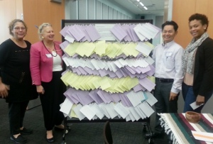 (l-r) PCHR's Veronica Szymanski, Patricia Coyne, Bunrath Math and Tierra Thompson display results of hundreds of Temple student and faculty interactions at the symposium.