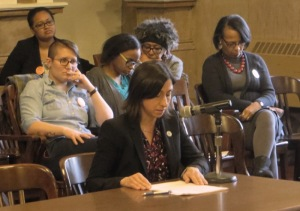 PCHR Executive Director Rue Landau delivers testimony during a hearing by City Council's committee on law and government.