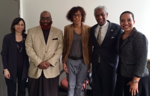 A Franco-American dialogue on culture and society. (l-r) PCHR Executive Director Rue Landau, Commissioner Saadiq Jabbar Garner, Maguy Salomon, Commissioner Marshall Freeman and Deputy Director Pamela Gwaltney.