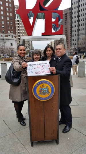 PCHR leaders declare they #DareToUnderstand. (r-l) Deputy Director Pamela Gwaltney, Commissioner Rebecca Alpert, Executive Director Rue Landau and Deputy Director Randy Duque.