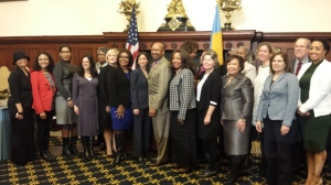 Mayor Nutter, City Councilwomen Blondell Reynolds Brown and Maria D. Quiñones-Sanchez join a host of women who testified on behalf of creating a new Commission for Women.