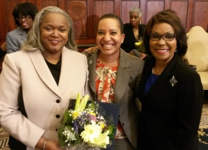 Philadelphia Revenue Commissioner Clarena Tolson, PCHR Deputy Director Pamela Gwaltney and City Councilman Blondell Reynolds Brown share a moment of celebration and sisterhood.