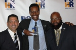 PCHR Commissioners Alfredo Calderon and Saadiq Jabbar Garner shared the same size smile as Kelvyn Anderson, executive director of the Philadelphia Police Advisory Commission and recipient of the 2015 PCHR Award for Public Safety.