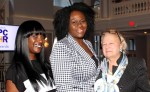 The night doubled as a reunion for many, including award recipient Officer Nokisha Jacobs (c.), who reconnected with veteran PCHR community relations team members Shawna Holts and Patricia Coyne.