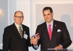 The Rev. Frank Lettko joined Managing Director Richard Negrin at the podium to accept his 2015 PCHR Community Excellence Award, one of 10 such honorees that night.