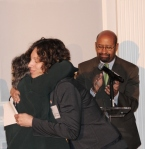 As Mayor Nutter applauded and choked back his tears, PCHR Commissioner Rebecca T. Alpert comforted Tricia Dressel, widow of Gloria Casarez, recipient of the 2015 Sadie T. M. Alexander Leadership Award.