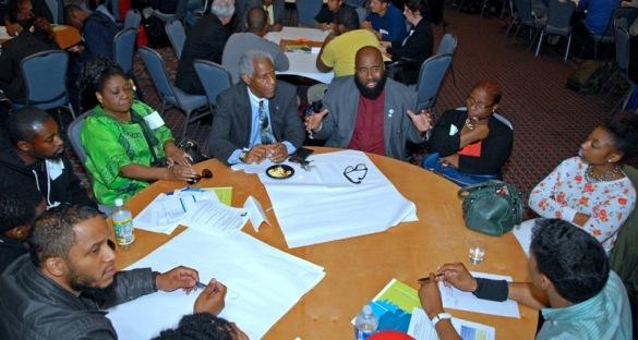 PCHR Commissioner Saadiq Jabbar Garner makes a key point during a table discussion.
