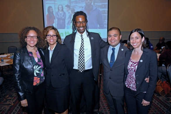 Securing Our Future organizers (l-r) My Brother's Keeper Philadelphia Christine Piven, Mayor's Office on Immigrant and Multicultural Affairs Executive Director Jennifer Rodriguez, Philadelphia Police Advisory Commission Executive Director Kelvyn Anderson and PCHR's Deputy Director Randy Duque and Executive Director Rue Landau.