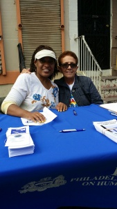A PCHR family reunion! Nancy Rivera connects with former PCHR employee Sonia Collazo at the Feria del Barrio.
