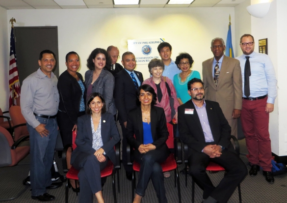 Gaining a global perspective (back row, l-r) PCHR Commissioner Alfredo Calderon, Deputy Director Pamela Gwaltney, Homaira Mansury of Wurzburg, Germany, Deputy Director Randy Duque, Commissioners Rebecca T. Alpert, Wei Chen, Regina Austin and Marshall E. Freeman and Sebastian Johna of the Goethe Institut. (front row, l-r) PCHR Executive Director Rue Landau, Muhterem Aras of the German Green Party, and Serkan Salman, an officer in Berlin's Central Office for the Prevention Landeskriminalamt.