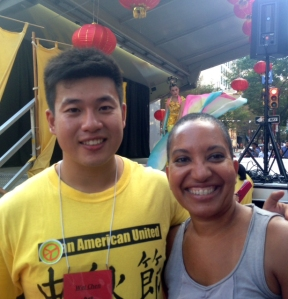 PCHR Commissioner Wei Chen and Deputy Director Pamela Gwaltney take a moment to celebrate during the 2015 Mid-Autumn Festival in Chinatown.
