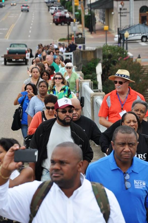 """On my personal, spiritual level, a circle has closed,"" said Norma Edelman, member of the Prince George's County Human Relations Commission. in Maryland. She was among the dozens who took to the bridge as part of the IAOHRA tour."